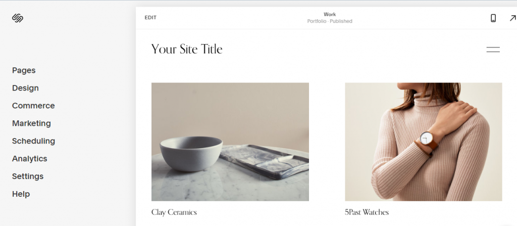 The Squarespace editor is more structured
