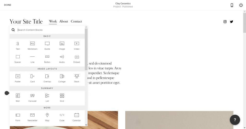 Squarespace Elements too are intuitive