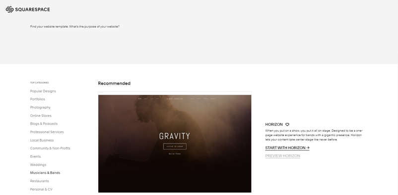 Squarespace has a handful of templates for musicians
