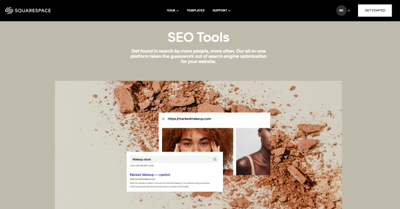 Squarespace has useful SEO tools for page ranking