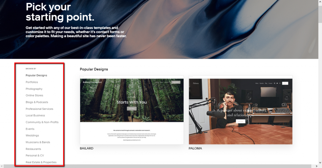 Squarespace offers well-designed templates to start your website