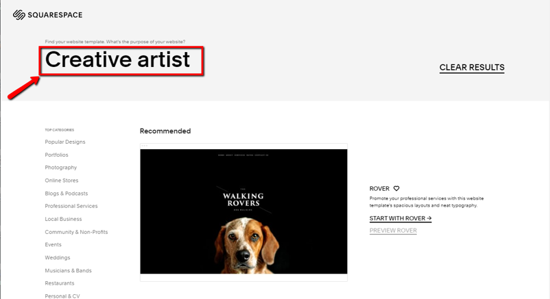 Squarespace does not have a dedicated template for creative art