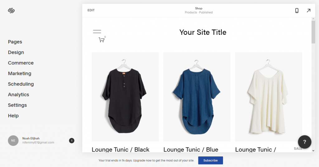 Squarespace's eCommerce template