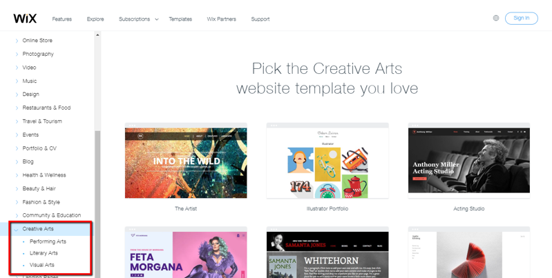Wix's website templates for creative arts
