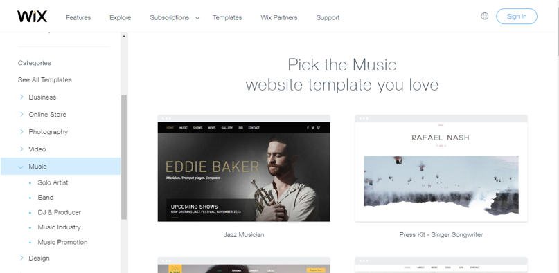 Wix creates a variety of music templates for musicians